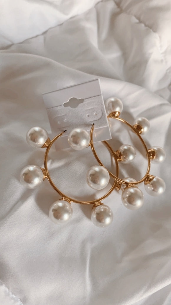 Large Pearl Golden Hoops