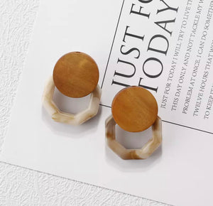 Wooden Earring with Geo Drop