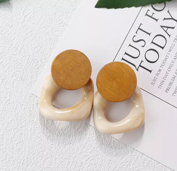 Wooden Earring with Marble Drop