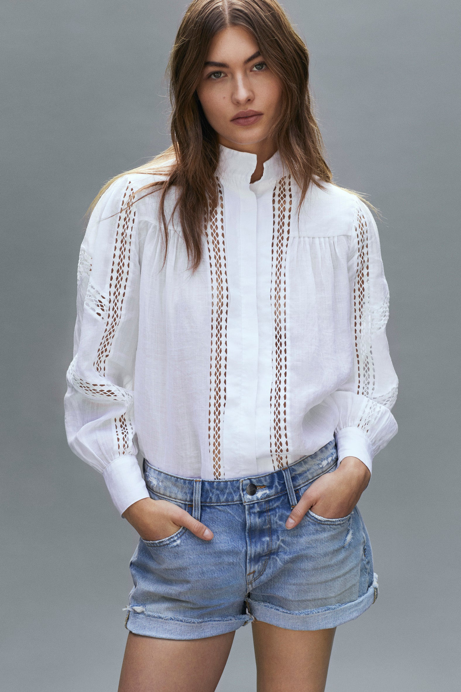 Panel Lace Button Up
