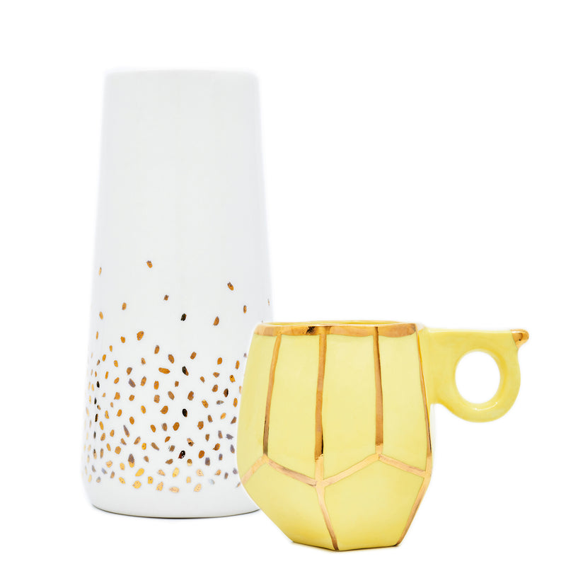 Mother's Day Gift Set white round vase with gold specks & geo mug by Oditi Designs