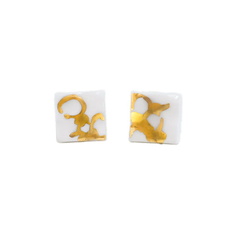 Small white and gold stud earrings handmade in Sydney
