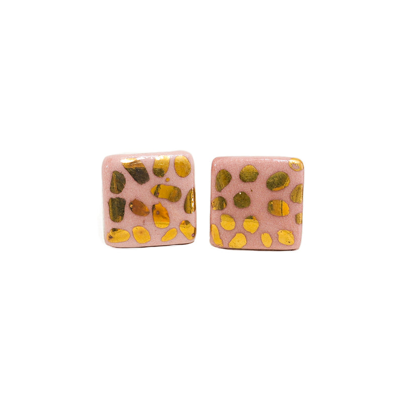Small pink and gold stud earrings handmade in Sydney