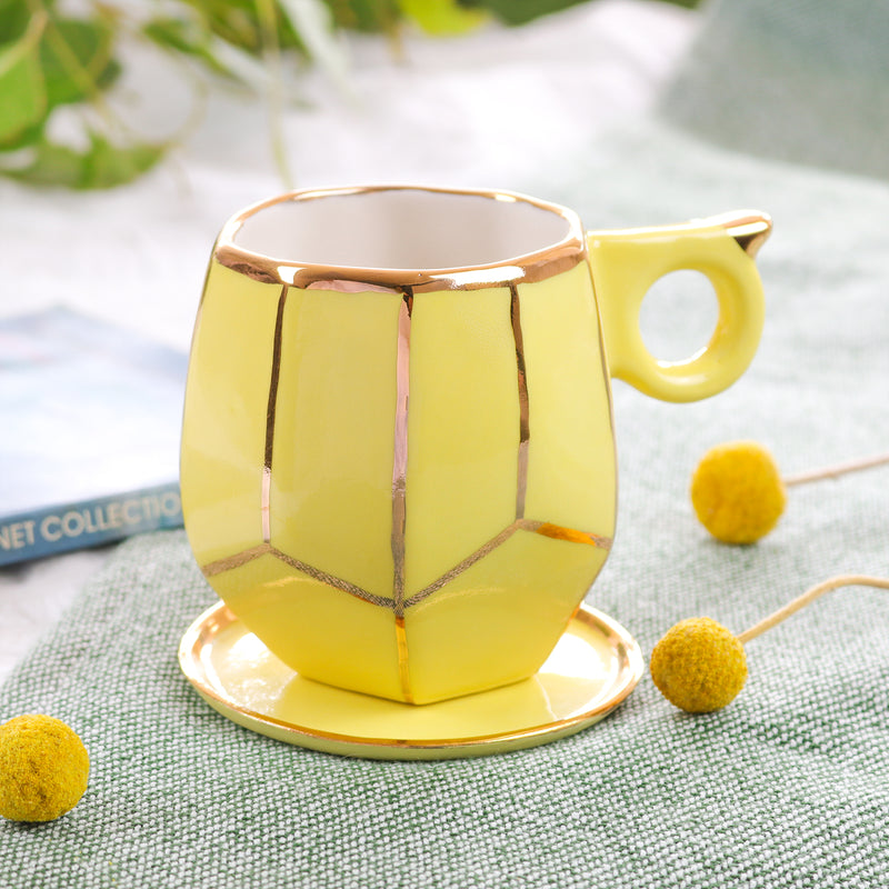Buttercup yellow geo mug handmade by Oditi Designs