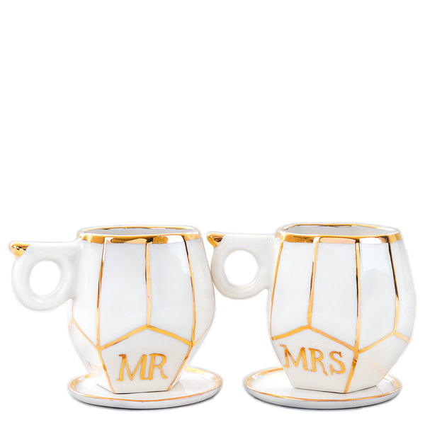 Gift Set MR & MRS white geo mugs for wedding gifts handmade by Oditi Designs personalised