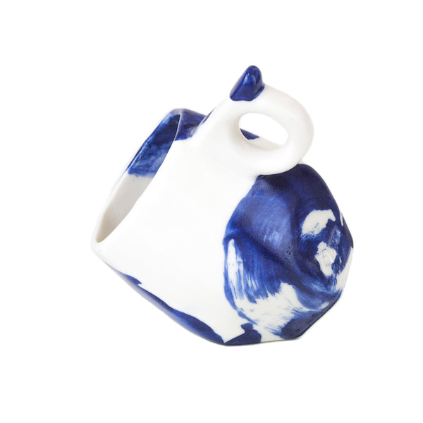 White handmade geo cups with cobalt blue swirl by Oditi Designs