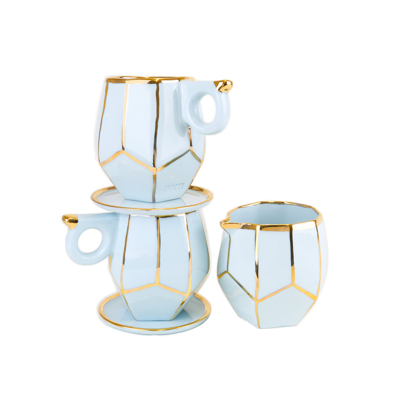Gold embellished geo mugs and jug Gift Set handmade by Oditi Designs