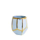 Indoor and outdoor light blue geo hanging planter size S by Oditi Designs