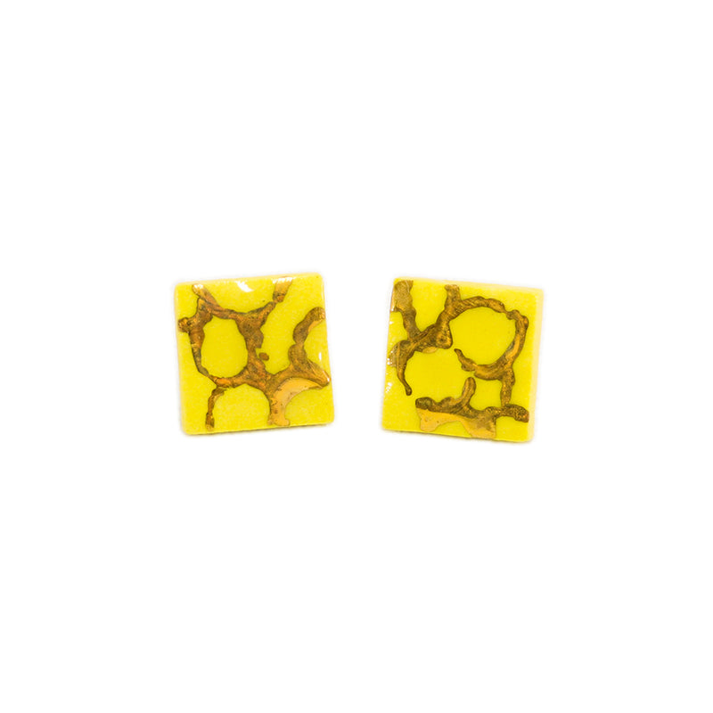Small square yellow honeycomb stud earrings with gold hand painted