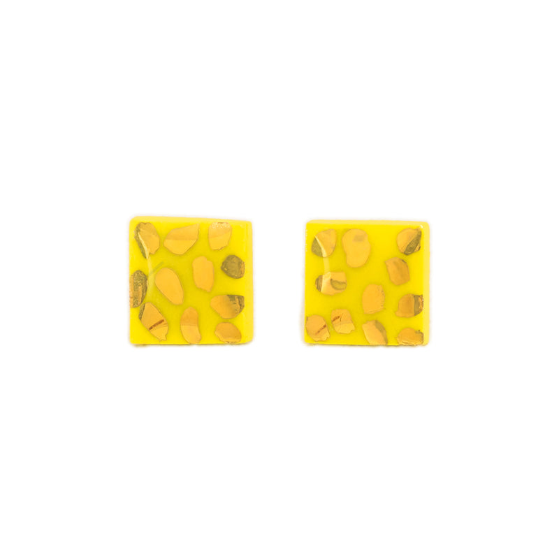 Small square yellow stud earrings with gold specks hand painted