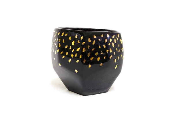 Geo planter black with gold specks size S handmade and design in Australia