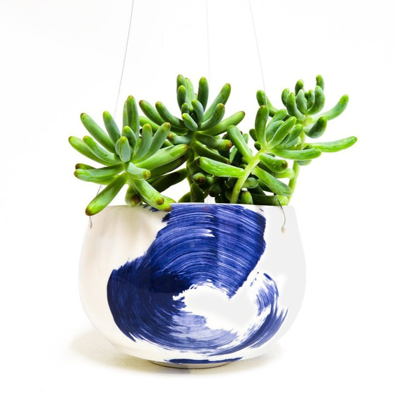 White hanging planter with cobalt blue design size S