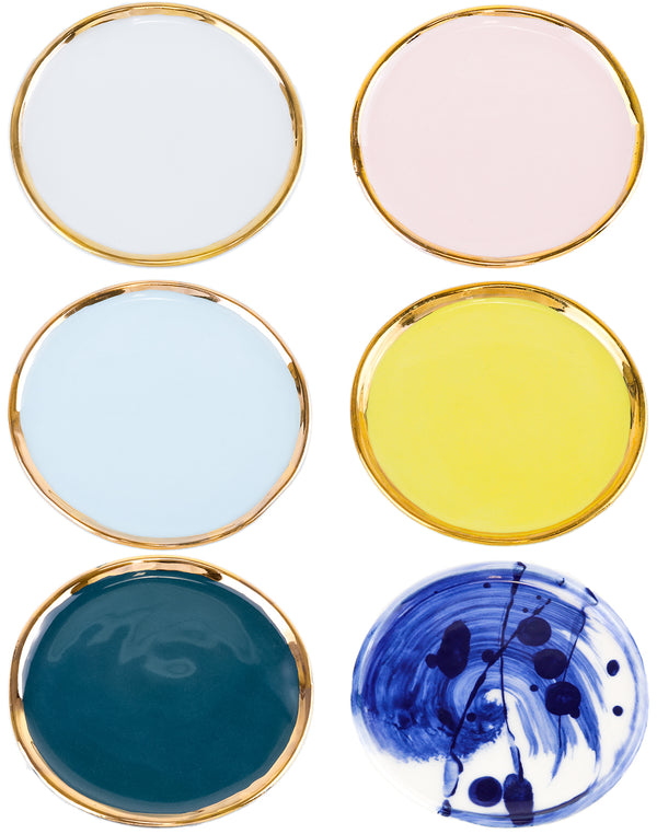 Coloured round dish with gold lustre for cup or mug handmade in Sydney