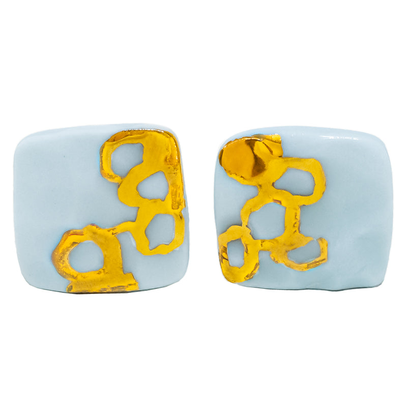 Medium cornflower blue square stud earrings and hand painted gold by Oditi Designs