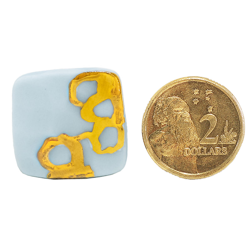 MED cornflower blue square stud earrings and hand painted gold by Oditi Designs
