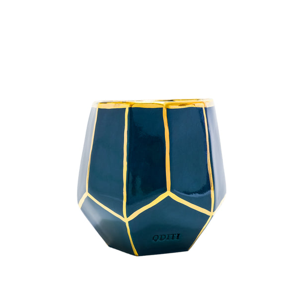 Blue Green geo vase with gold outlines H12 handmade in Sydney Australia