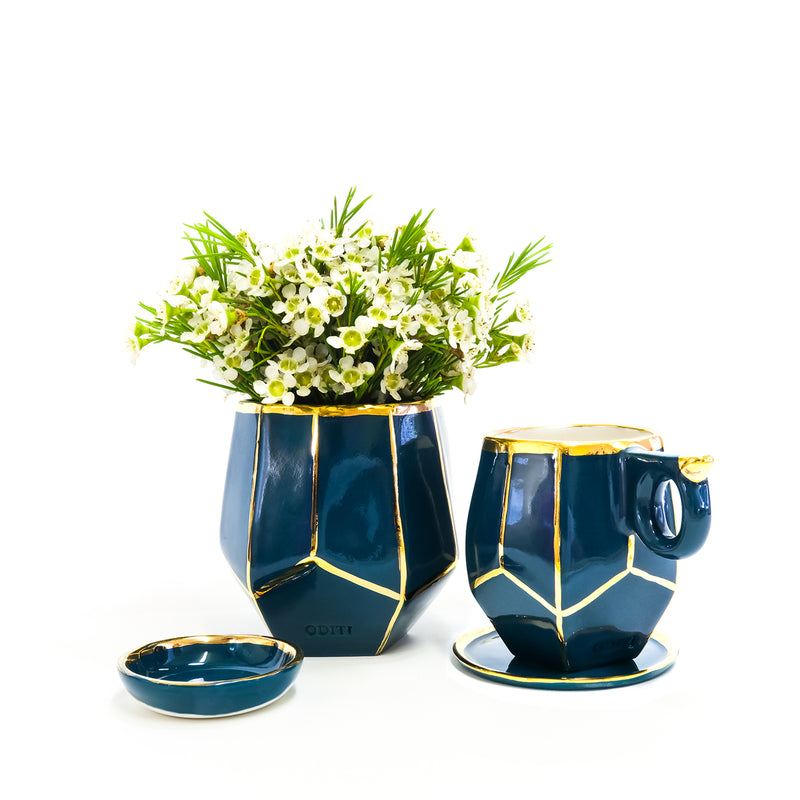 Oditi Designs blue-green geo mug and geo vase