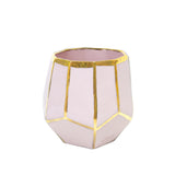 Geo planter marshmallow pink and gold outlines size medium