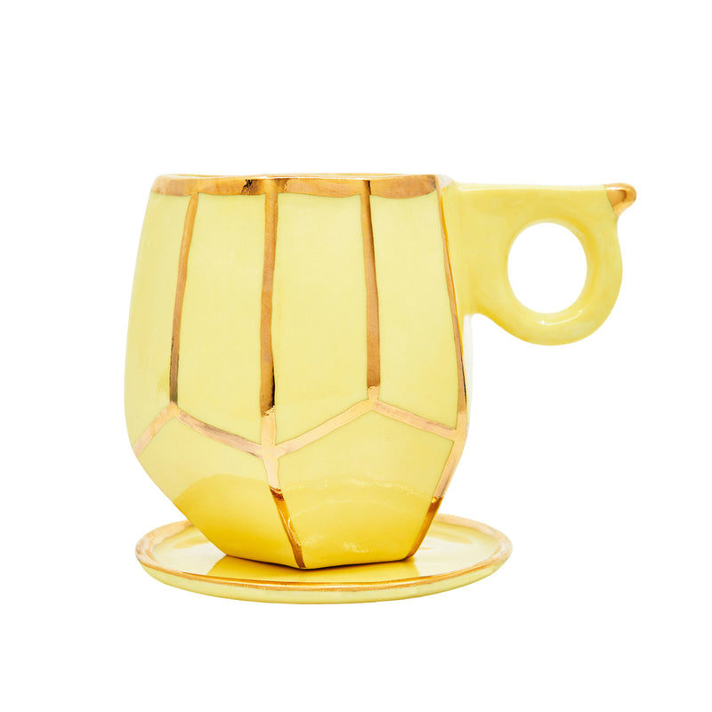 Oditi Designs yellow geo mug and dish handmade in Sydney