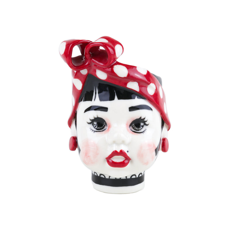Lulu vintage-inspired hand painted red polka dot porcelain girl doll cups