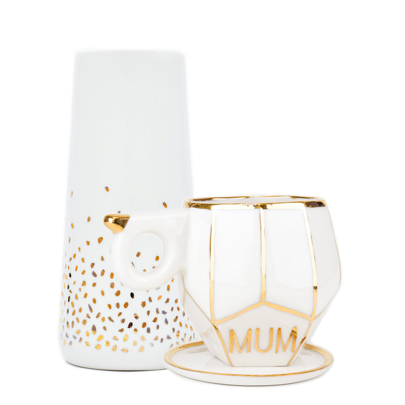 Gift Set with MUM text on a white geo mug handmade by Oditi Designs