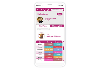 the bestie app mealplan screen