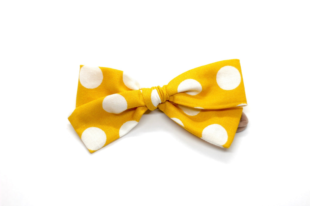 Mustard Polka Dot Small Bow