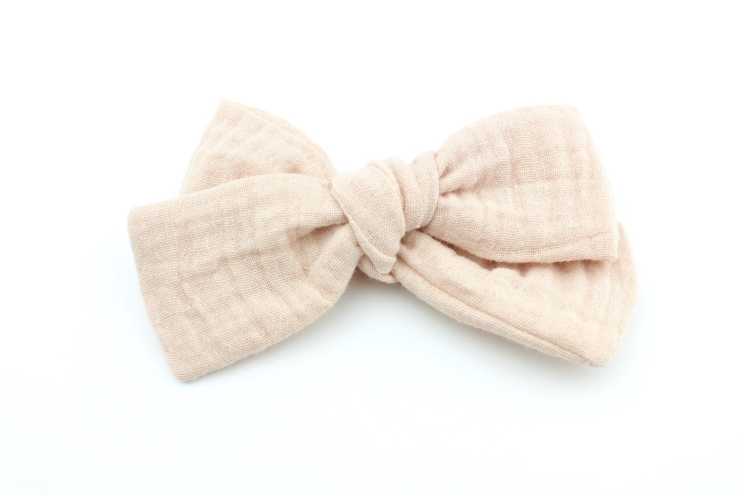 Muted Nude Gauze Bow