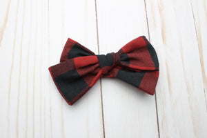 Red Buffalo Plaid Chunky Bow -SALE