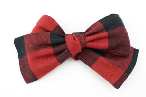 Red & Black Thick Buffalo Plaid Classic Bow