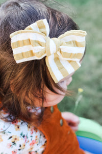 Mustard Stripe Bow -SALE