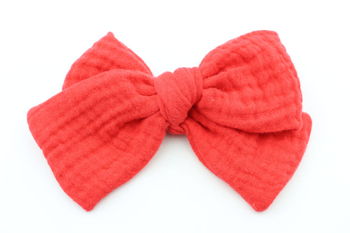Chunky Red Gauze Bow -SALE