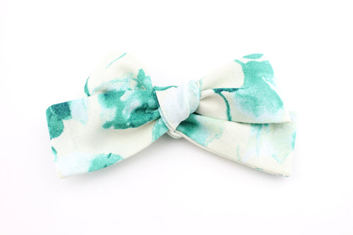 Watercolor Green Floral Small Bow-SALE