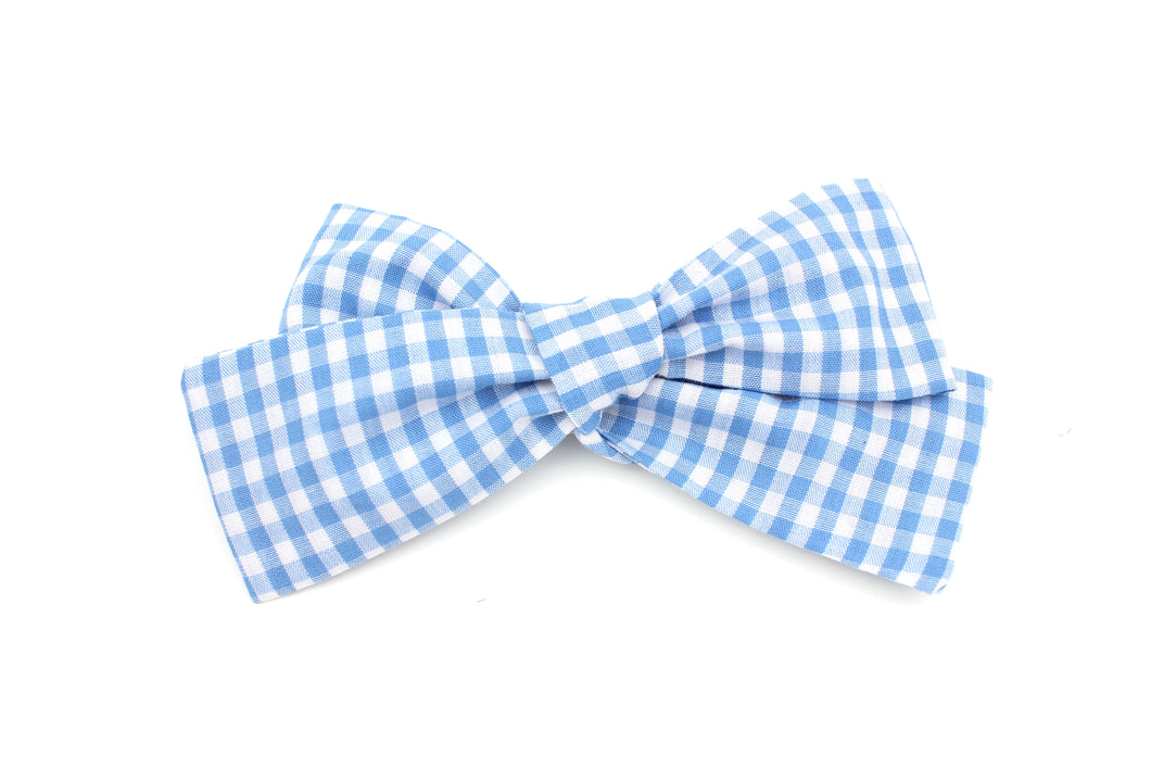 Light Blue Gingham Big Bow-SALE