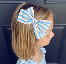 Load image into Gallery viewer, Cabana Stripe Blue & Cream Bow