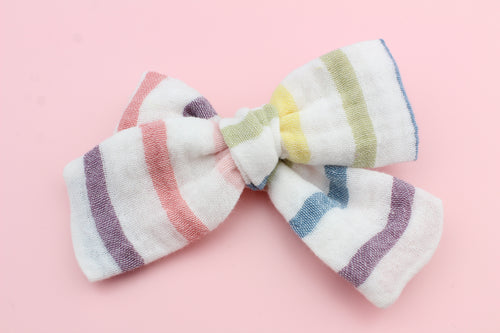White Rainbow Stripes Gauze Bow