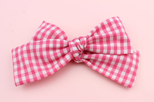 Gingham Hot Pink Classic Bow
