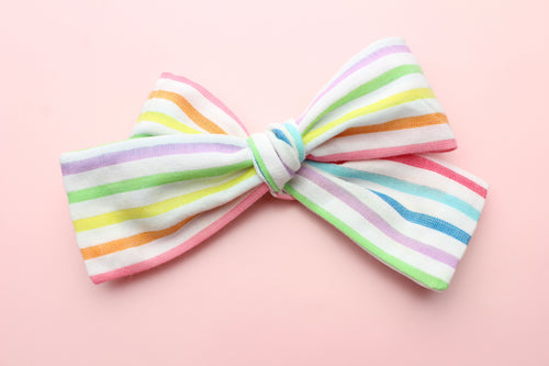 Bright Rainbow Stripes Classic Bow