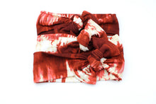 Load image into Gallery viewer, Deep Red Tie Dye Darling Knot OS