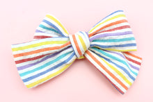 Load image into Gallery viewer, Rainbow Stripes Classic Bow