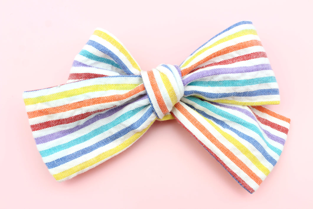 Rainbow Stripes Classic Bow