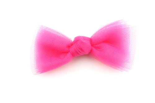 Tulle Knot Hot Pink Bow