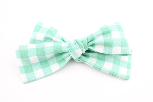 Mint Plaid Small Bow