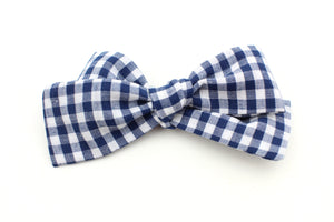 Navy Gingham Small Bow