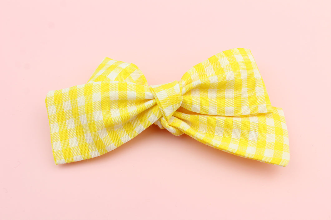 Gingham Yellow Petite Bow