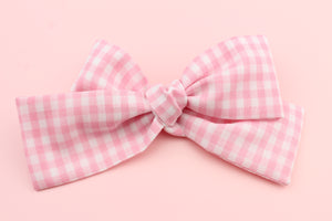 Gingham Pink Classic Bow