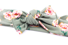 Load image into Gallery viewer, Dark Sage Floral Darling Knot OS