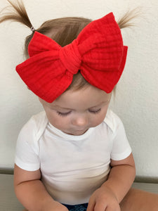 Chunky Red Gauze Bow