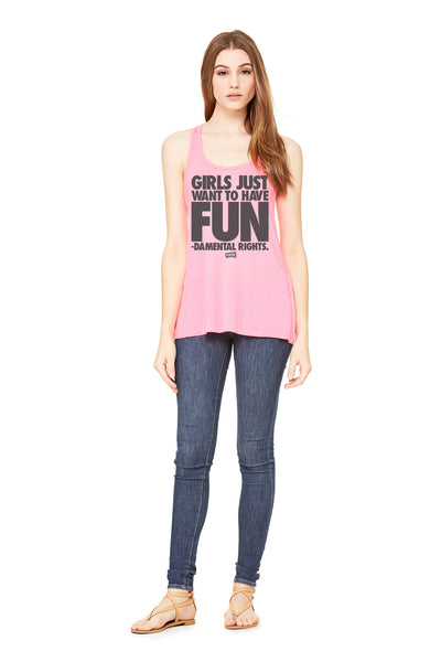 "Flowy Neon Racerback ""Fundamental Rights"" Tank Top"