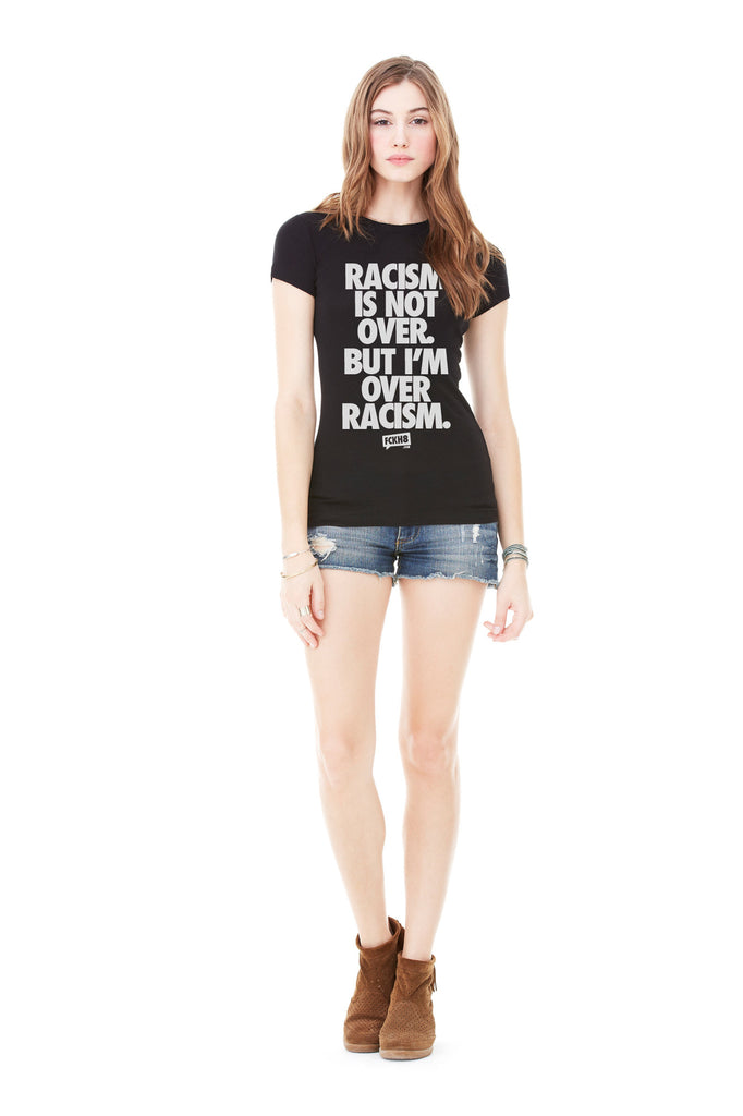 "Women's Fitted 100% Cotton ""Anti-Racism"" Tee"